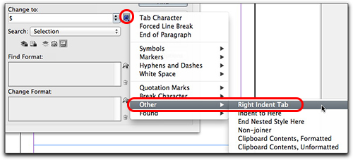Adobe InDesign: For a right indent tab, type ^y or use the menu shown here