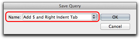 Adobe InDesign: Save your Find/Change queries