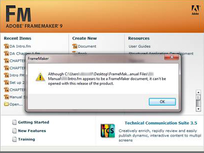 Adobe FrameMaker 11: Can't open a FrameMaker 11 file in FrameMaker 9 without MIF