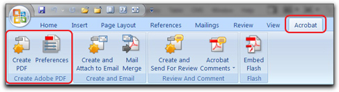 Microsoft Office and PDFMaker: Start by setting preferences