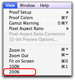Adobe Photoshop CS6: The new 200% magnification