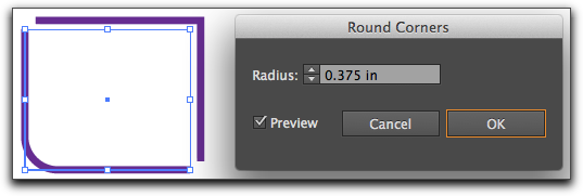 Adobe Illustrator CS6: Round the corner on one of the right angles.