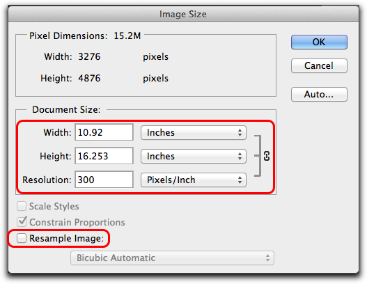 Adobe Photoshop: Image > Image Size