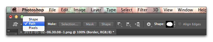 Adobe Photoshop: Set the Tool Mode to Path in the Options bar