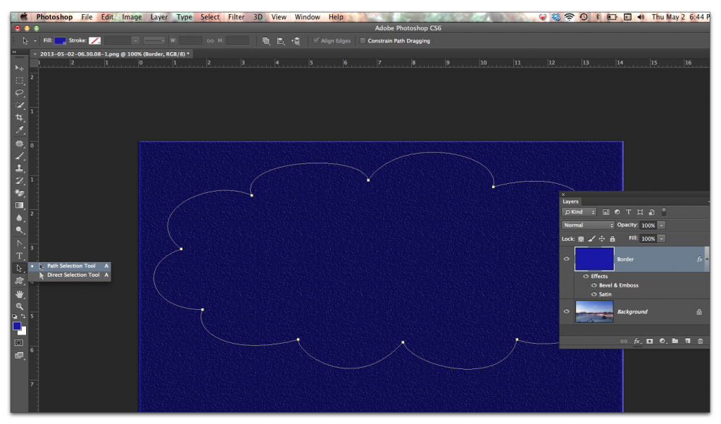 Adobe Photoshop: Use the Path Selection tool to select the path