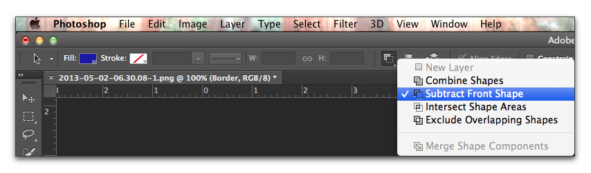 Adobe Photoshop: Choose Subtract Front Shape from the Path Operations menu in the Options bar
