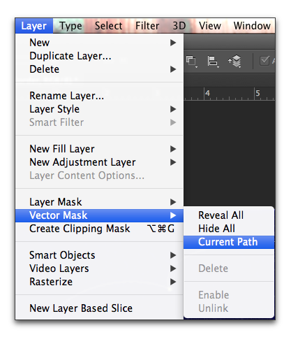 Adobe Photoshop: Choose Layer, Vector Mask, Current Path