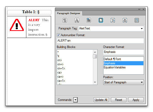 "Adobe FrameMaker 11: Add the word ""Alert"" (or Note, Caution, Warning, etc.) through Auto-Numbering"