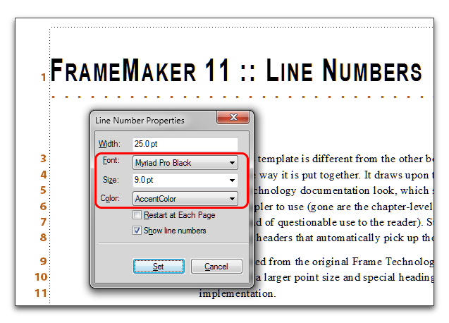 Choose Format > Document > Line Numbers to change the look (including font, size and color).