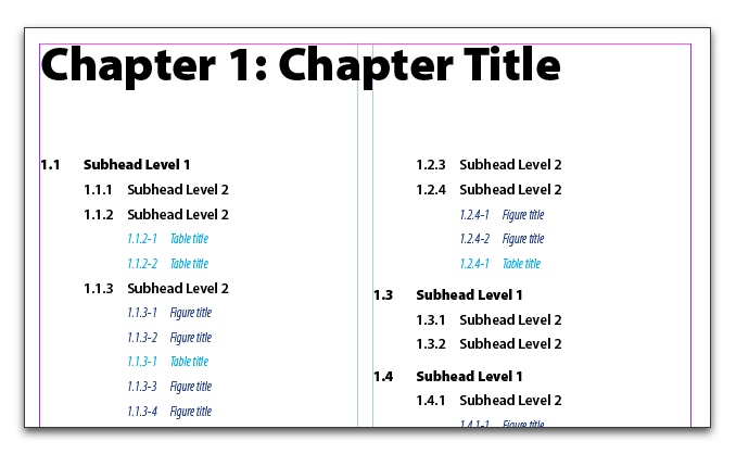 Adobe InDesign :: How to number chapters, subheads, tables and figures.