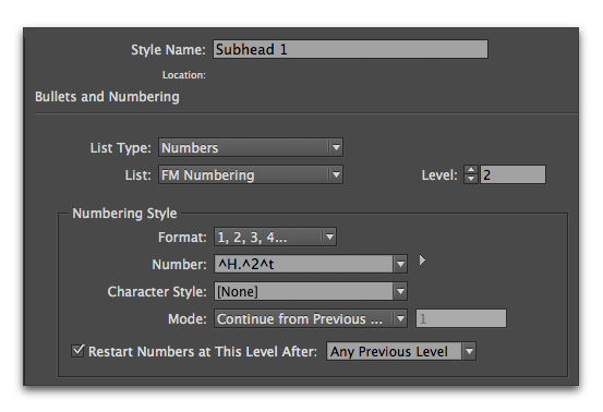 Adobe InDesign :: Example of subhead numbering