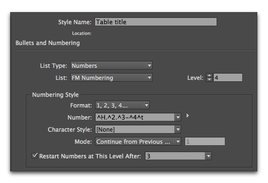 Adobe InDesign :: Example of table numbering