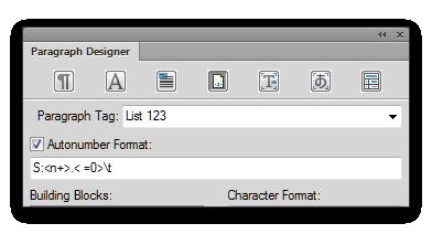 Adobe FrameMaker: Level 1 numbered lists