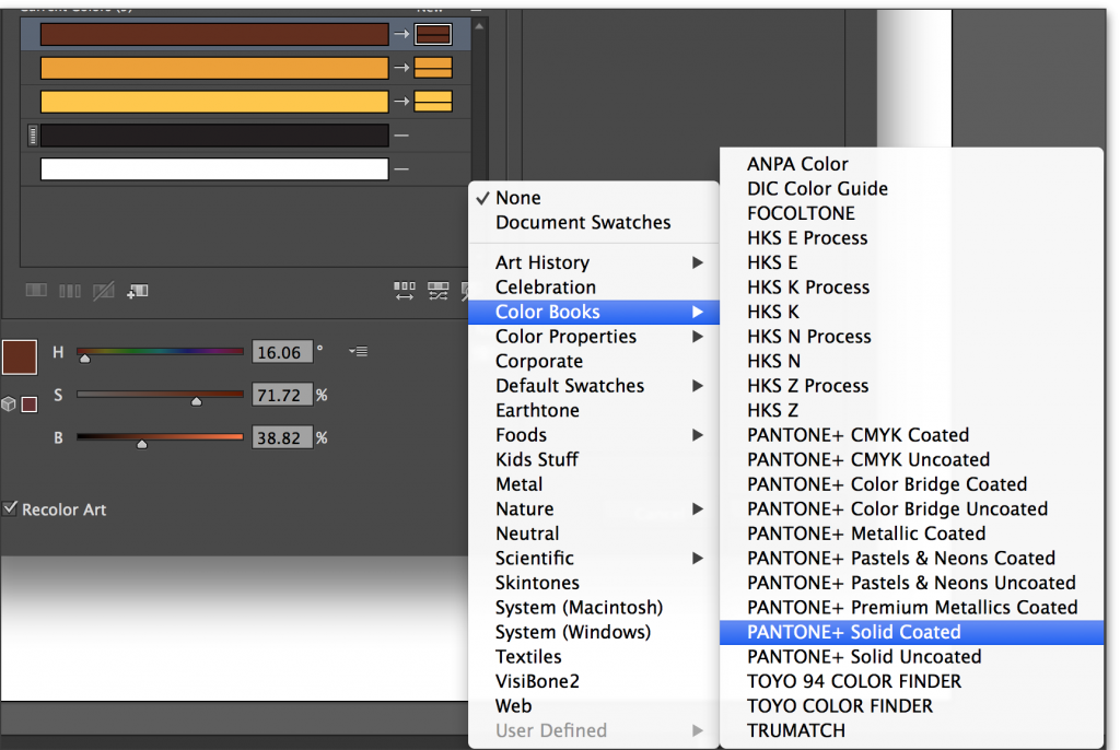 Adobe Illustrator CC 2014: Choose your Pantone color book.