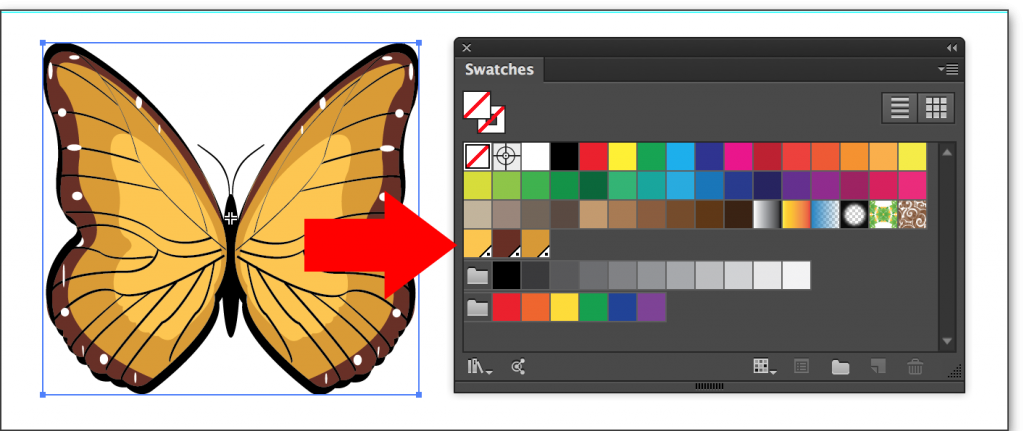 Adobe Illustrator CC 2014: The new Pantone swatches appear in the Swatches panel.