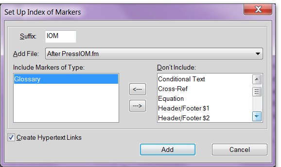 Adobe FrameMaker: Add an alphabetical list of glossary markers